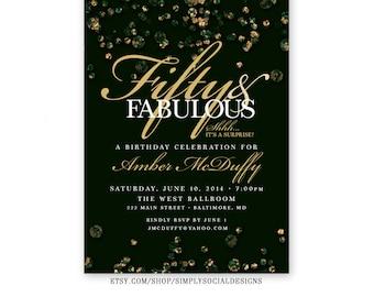 Emerald Confetti Surprise 60th 50th 40th 30th Birthday Invitation