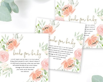 INSTANT DOWNLOAD Pink Floral Baby Shower Books for Baby - Peony Roses Blush Pink Book instead of a card faux gold foil Printable