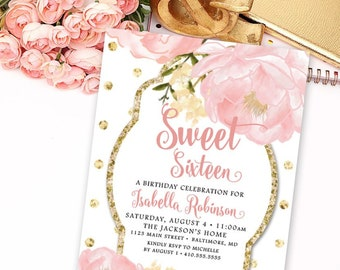 Sweet Sixteen 16 Birthday Party Invitation - Printable Garden Peonie Flowers Blush Pink and Faux Gold Glitter Polka Dots