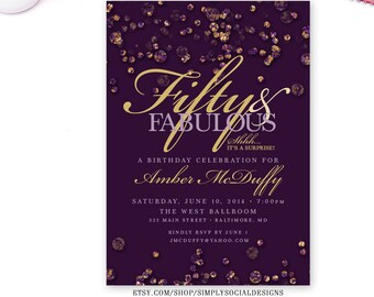 Purple Confetti Birthday Invitation Surprise 60th 50th 40th 30th Fifty and Fabulous PRINTABLE The Jewel Collection Glitter Glam Amethyst