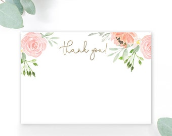 INSTANT DOWNLOAD Pink Floral Baby Shower Thank You Note - Garden Shower - Peony Roses faux gold foil Printable Thank You Note