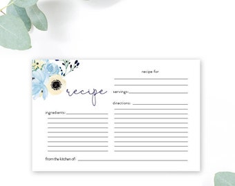 INSTANT DOWNLOAD Boho Blue Floral Recipe Card - Bridal Shower - Garden Shower - Dusty Blue Printable Recipe Card Bring a Recipe