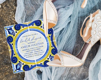 Mediterranean Tile - Italian Bridal Shower Invitation - Blue and White tile with Gold Accents