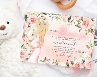 Blonde Mom to Be Baby Shower Invitation - Pink In Full Bloom