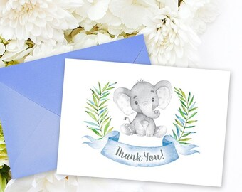 INSTANT DOWNLOAD Elephant Baby Shower Thank You Card Blue Boho Elephant Jungle Baby Shower Watercolor Calligraphy Printable