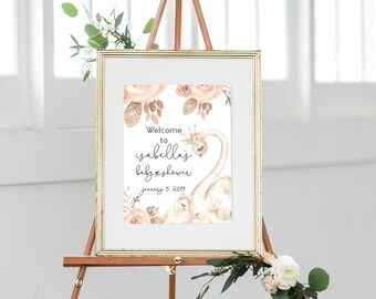 Swan Pink Floral Baby Shower Welcome Sign