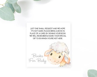 INSTANT DOWNLOAD Lamb Baby Shower Bring a Book Instead of a Card insert Little Lamb Sheep Watercolor Calligraphy PRINTABLE