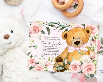Pink Floral Teddy Bear Baby Shower Invitation - It's a Girl Watercolor Modern Baby Shower Pink Little Cub Printable - Baby Girl