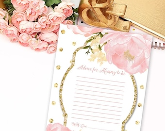 INSTANT DOWNLOAD Romantic Garden Peonie Flowers Blush Pink and Gold Polka Dots Baby Shower Advice for Mommy to be Printable