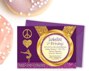 Gymnastics Birthday Party Invitation - Plum Purple Kid's Peace Love with Glitter Printable