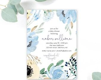 Boho Blue Floral Baby Shower Invitation
