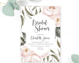 Pink Floral Greenery Bridal Shower Invitation - Geometric Invitation - Garden Shower - Peony Roses Blush Invitation Watercolor Printable