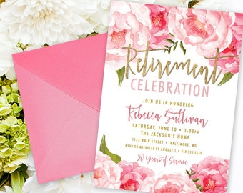 Pink Floral Retirement Party Invitation