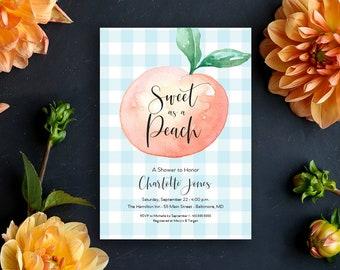 Sweet as a Peach Gingham Bridal Shower Invitation - Sweet Peach - Peach Themed Party - Peach Invitation - Georgia Peach - Southern Peach