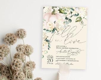 Pumpkin Bridal Shower Invitation - Fall in Love
