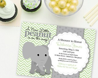 Elephant Baby Shower Invitation Mint and Grey