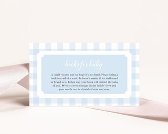INSTANT DOWNLOAD Books for Baby Insert - Boy Baby Shower - Bring a book - Matching Printables - Gingham Blue Baby Shower