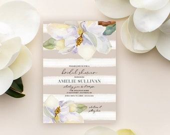 Magnolia Shower Invitation - Bridal Shower - Baby Shower - White Flowers and Grey Watercolor Stripes Southern Party Invitation Shiplap