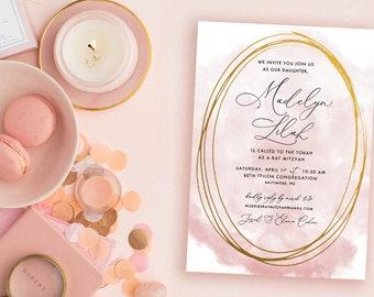 Blush and Gold Bat Mitzvah Invitation