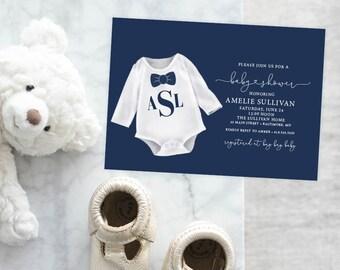 Navy Baby Boy Monogram Baby Shower Invitation