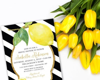Fresh Lemon with Black and White Stripes and Gold Glitter Bridal Shower Invitation Printable Fresh Squeezed Lemonade Main Squeeze