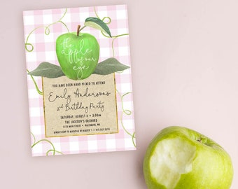 GREEN Apple of Our Eye Birthday Party Invitation with Pink and White Buffalo Check - Apple Picking