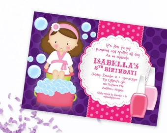 Kid's Spa Birthday Party Invitation