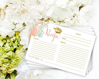 INSTANT DOWNLOAD Bridal Shower Recipe Card - Under the Sea Mermaid Bridal Shower Printable Recipe Card Wedding Shower Bride to Be