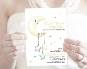 Little Star Baby Shower Invitation - Gender Neutral Watercolor Moon and Stars Modern Baby Shower Yellow and Green Twinkle Twinkle Printable