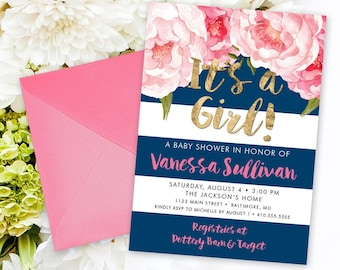 Pink and Navy Stripe Floral Baby Shower Invitation