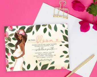 African American Mom to Be Baby Shower Invitation - Pink In Full Bloom