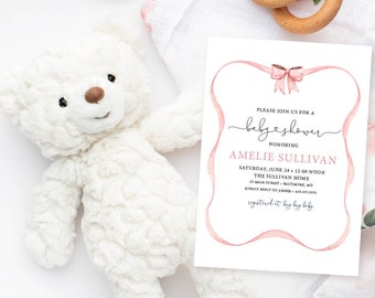 Blush Pink Ribbon Baby Shower Invitation