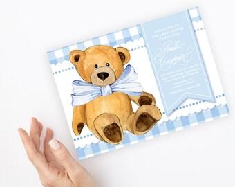Blue Gingham Teddy Bear Baby Shower Invitation - It's a Boy - Little Cub - Baby Boy