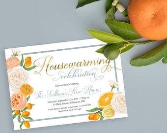 Orange Blossom Housewarming Party Invitation - Floral and Citrus Invitation
