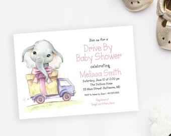 Elephant Drive By Baby Shower Invitation