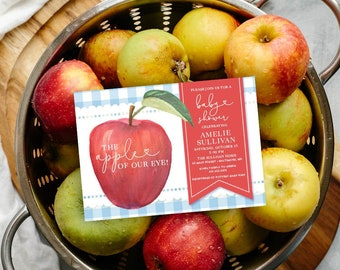 Apple of Our Eye Blue Gingham Baby Shower Invitation - Fall Baby Shower - Apple Picking