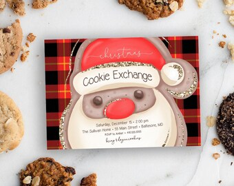 Red Buffalo Check Christmas Cookie Exchange Party Invitation