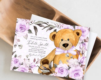 Purple Floral Teddy Bear Baby Shower Invitation - It's a Girl Watercolor Modern Baby Shower Purple Little Cub Printable - Baby Girl