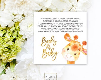 INSTANT DOWNLOAD Giraffe Baby Shower Bring a Book Instead of a Card insert Faux Gold Foil Boho Elephant Jungle Watercolor PRINTABLE