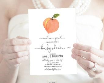 Peach Baby Shower Invitation - Watercolor Peach Bridal Shower Invite Georgia Peach Printable Sweet as a Peach Sweet Peach