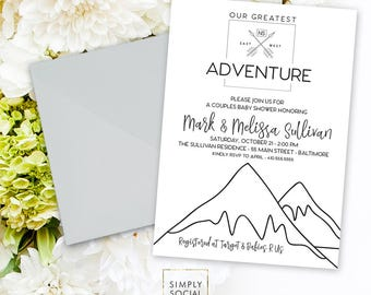 Our Greatest Adventure Baby Shower Invitation - Gender Neutral Black and White Modern Baby Shower Mountain Baby Shower Printable Baby Boy