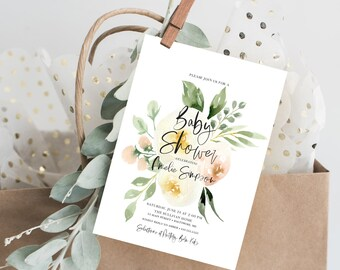 Creme Floral Baby Shower Invitation - Blush Pink Flowers - Printed Invitations - Greenery Invitation Watercolor