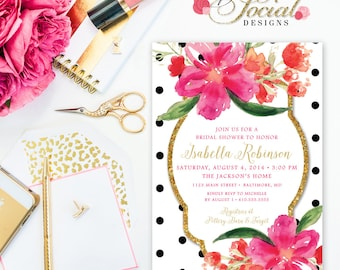 Floral Bridal Shower Invitation - Faux Glitter Glam Hot Pink Watercolor Flowers Black and White Polka Dots Bridal Shower Printable