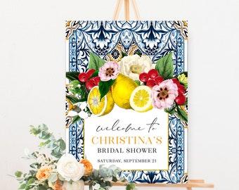 Sicilian Tile Lemon and Floral Bridal Shower Welcome Sign