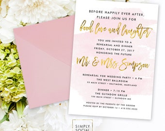 Rehearsal Dinner Invitation - Blush and Gold Faux Gold Foil Wedding Rehearsal The Night Before Love and Laughter Printable