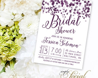 Purple Confetti Bridal Shower Invitation
