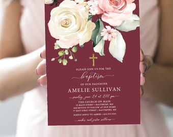 Burgundy Floral Baptism Invitation