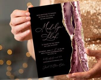 Blush and Gold Glitter Agate Bat Mitzvah Invitation