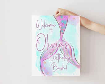 Purple Mermaid Tail Birthday Party Welcome Sign - Under the Sea