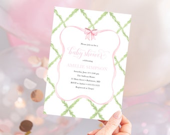 Preppy Pink and Green Bow Baby Shower Invitation